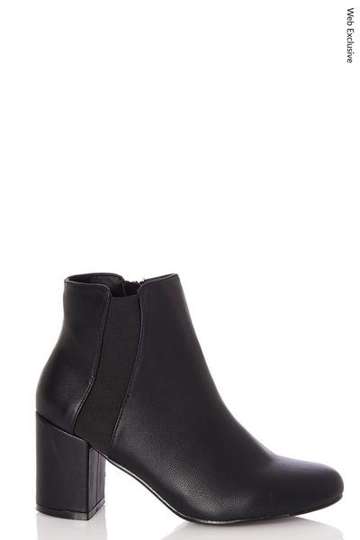Black Elastic Panel Heel Ankle Boots